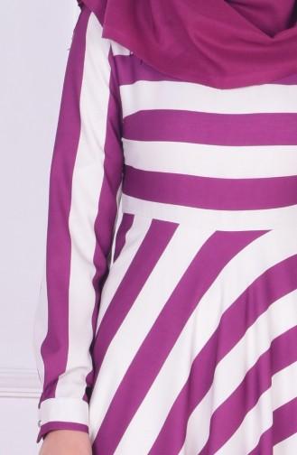 Çizgili Elbise 3385-01 Mürdüm 3385-01
