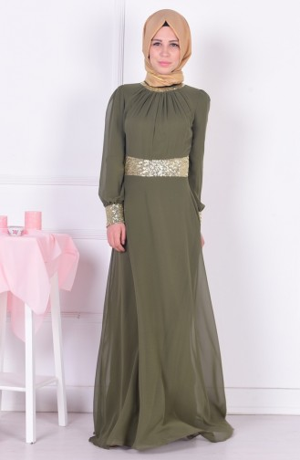 Khaki Islamic Clothing Evening Dress 2398-10