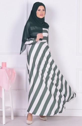 Striped Dress 3385-04 Green 3385-04