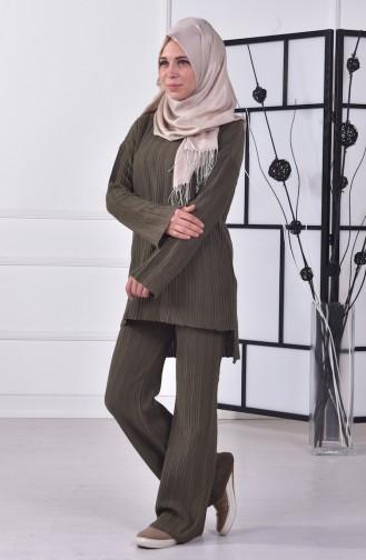Tunik Pantolon Triko İkili Takım 3844-04 Haki Yeşil Sefamerve