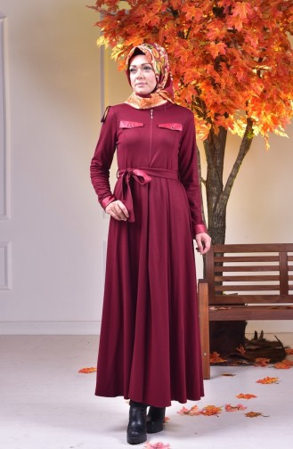 Claret red Abaya 0485-01