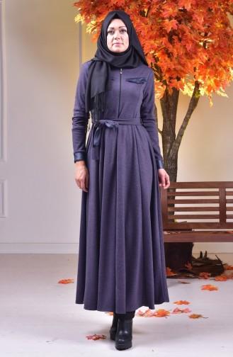Abaya mit Leder Detail 0485-04 Lila 0485-04