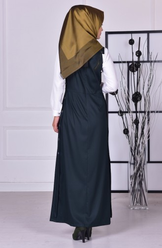 Düğme Detaylı Jile Elbise 2516-09 Zümrüt Yeşil 2516-09