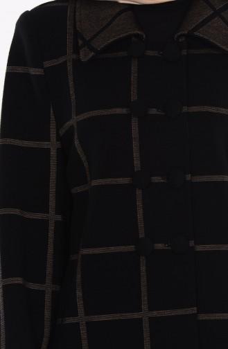Düğmeli Desenli Kap 6230-04 Siyah Vizon 6230-04