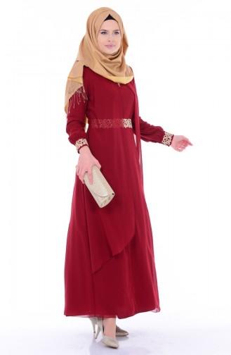 Dark Claret Red İslamitische Jurk 52221-18