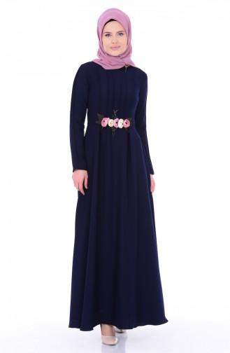 فستان بتفاصيل مُزينة بالورد 1156-02 لون كحلي 1156-02