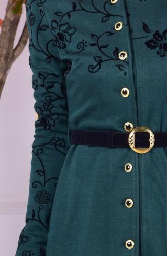Bedrucktes Cape mit Gürtel 1080-02 Smaragdgrün 1080-02
