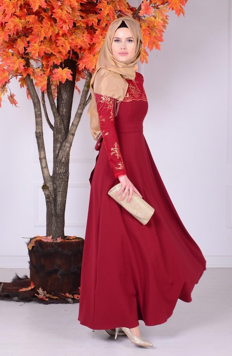 e7e0b2180d1e4 فستان سهرة بتفاصيل من الدانتيل 1032-04