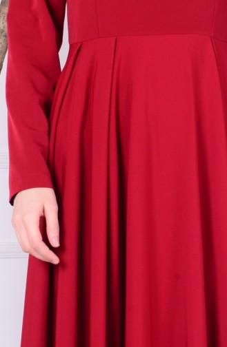 Püskül Detaylı Krep Elbise 4074-01 Bordo 4074-01
