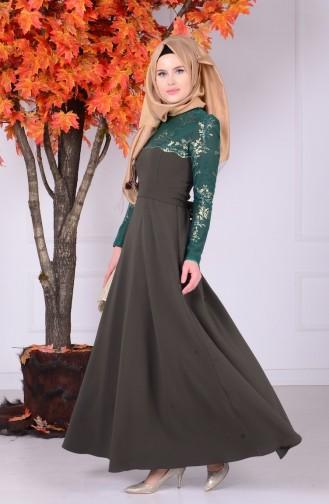 Dantel Detaylı Elbise 1032-03 Zümrüt Yeşil