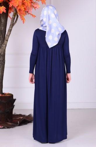 Garson Boy Tesettür Elbise 0780-01 Lacivert