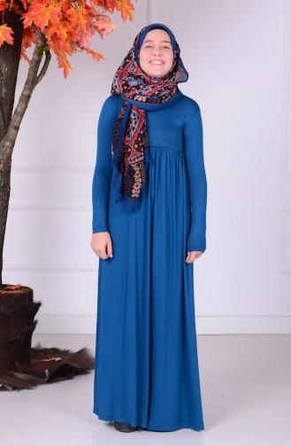Oil Blue Young Hijab Dress 0780-03