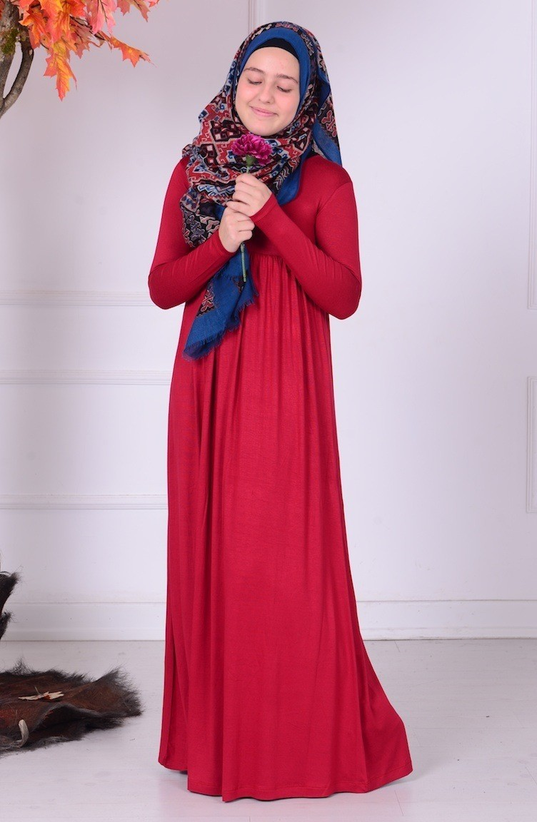 b852f4d27e2dc Garson Boy Tesettür Elbise 0780-07 Kırmızı