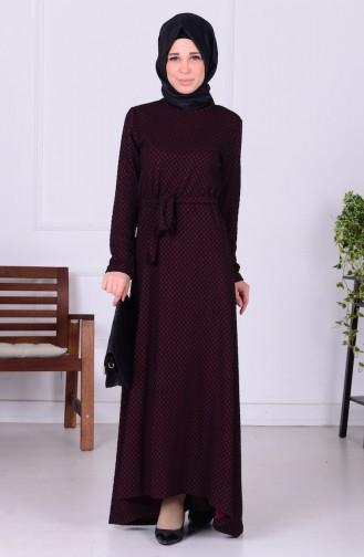 Kuşaklı Asimetrik Elbise 4075-01 Bordo Siyah 4075-01