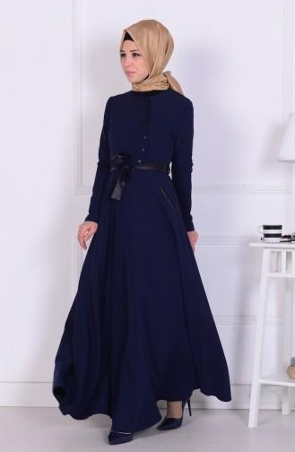 Düğmeli Cepli Elbise 1076-01 Lacivert Sefamerve