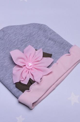 قبعة راس رمادي زهري 33