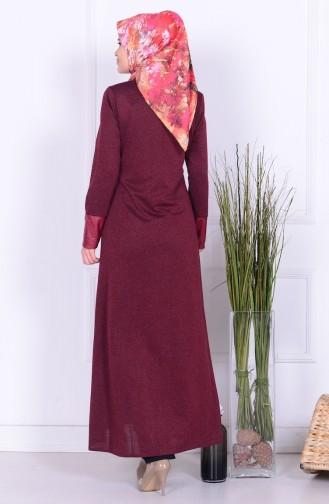 Abaya mit Leder Detail 0416K-01 Weinrot 0416K-01