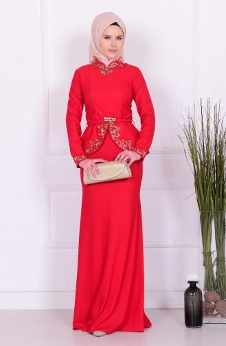 Abiye Elbiseler PDY 5703-01 Kırmızı Sefamerve