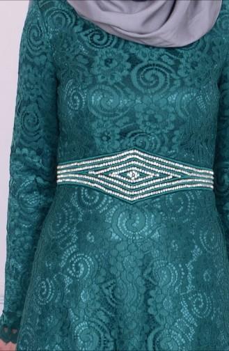 Besticktes Abendkleid 6114-02 Grün 6114-02