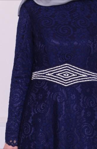 Sırt İşlemeli Abiye Elbise 6114-03 Lacivert