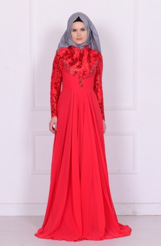 Red Islamic Clothing Evening Dress 6202-01