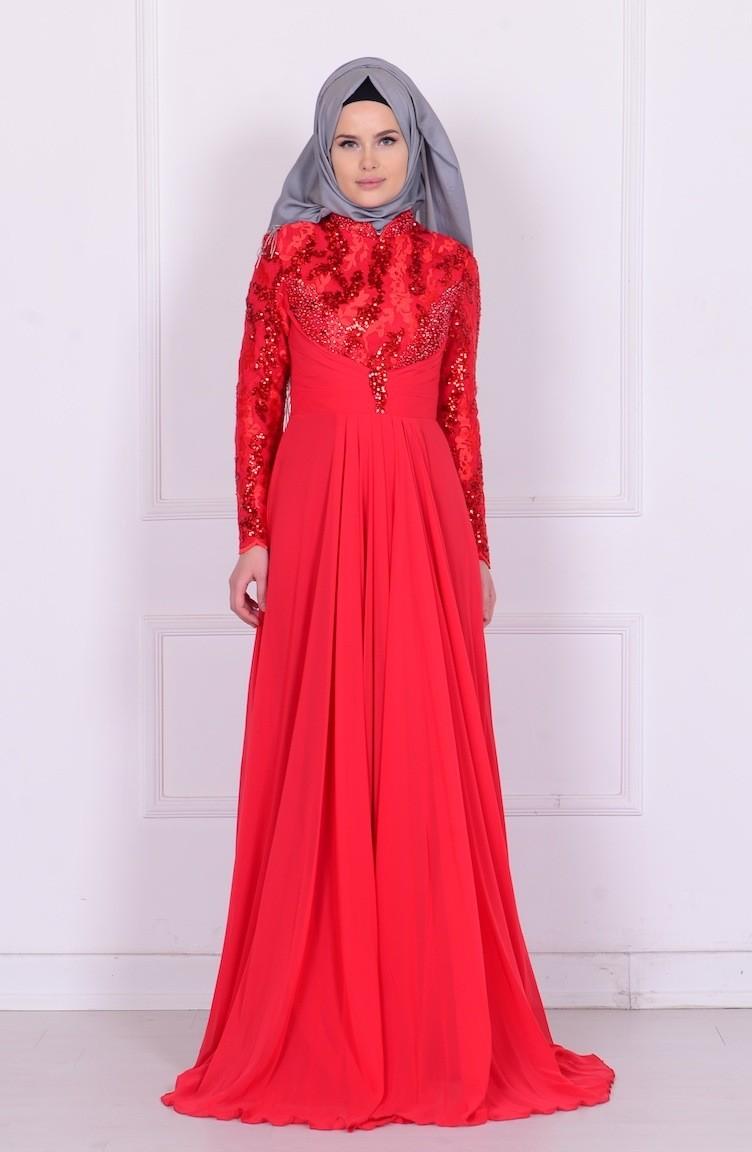 5ef2621de5e37 Boncuk İşlemeli Şifon Abiye Elbise 6202-01 Kırmızı