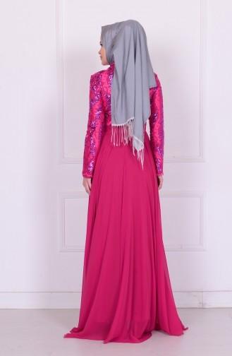 فستان من الشيفون لون رمادي  6202-03