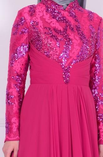 Abendkleid mit Perlen aus Chiffon 6202-03 Flieder 6202-03