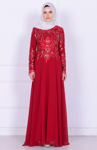 Claret red Islamic Clothing Evening Dress 6212-02