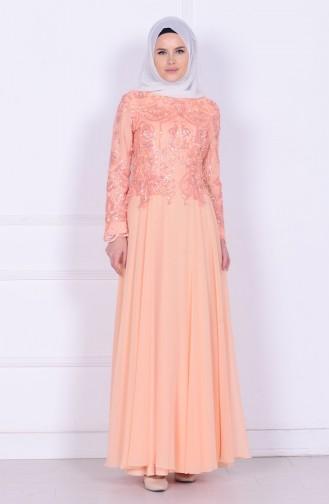 فستان من الشيفون لون مشمشي  6212-03