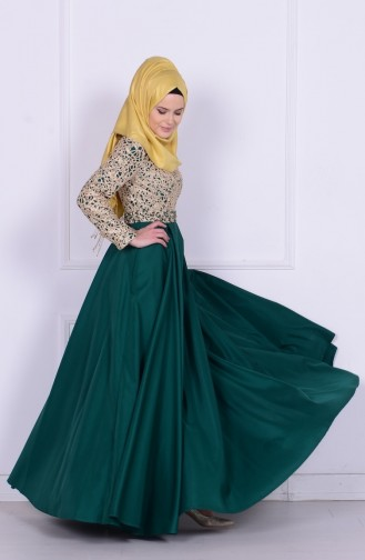 Boncuk İşlemeli Abiye Elbise 6306-01 Yeşil Sefamerve