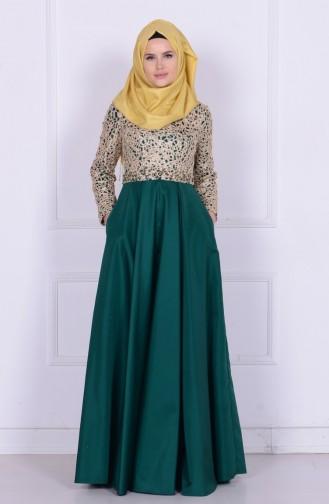 Green İslamitische Avondjurk 6306-01