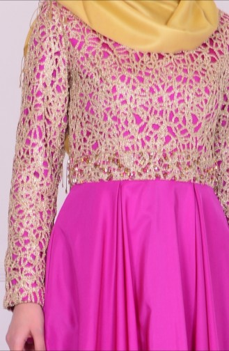 Robe de Soirée Bordée de Perles 6306-03 Violet 6306-03