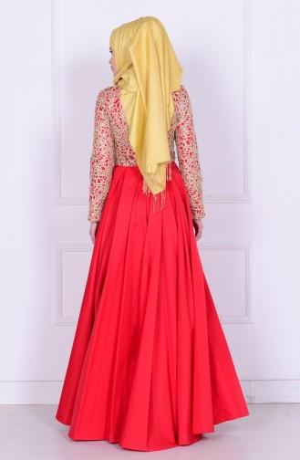 Red İslamitische Avondjurk 6306-04