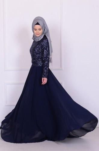 فستان شيفون بتفاصيل من الدانتيل 6803-02
