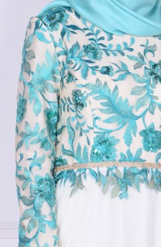 Spitzen Abendkleid aus Chifon 6814-02 Grün Naturfarbe 6814-02