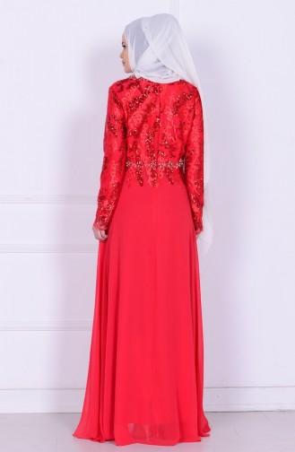 Pul İşlemeli Şifon Abiye Elbise 6819-01 Kırmızı