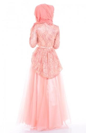 Robe de Soirée en Tulle 6107-01 Poudre 6107-01