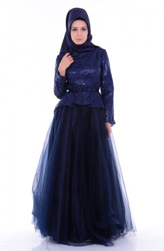 Navy Blue Islamic Clothing Evening Dress 6107-03