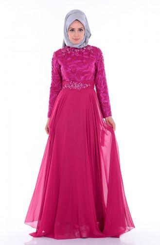 Embroidered Chiffon Evening Dress6213-01 Dark Fuchsia 6213-01