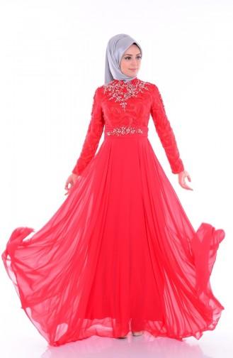 فستان من الشيفون بتصميم مورد  6213-04