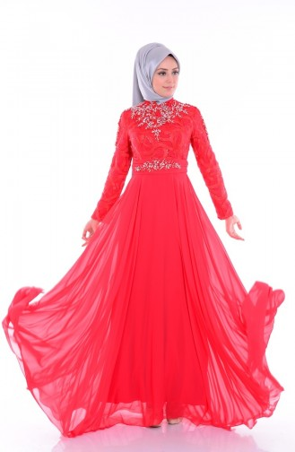 Vermillion Islamic Clothing Evening Dress 6213-04