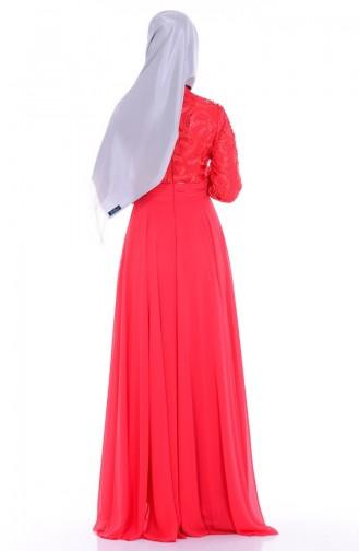 Robe de Soirée Mousseline Bordée 6213-04 Fleurs de Grenadine 6213-04