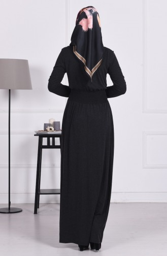 Belden Lastikli Elbise 4650-01 Siyah 4650-01