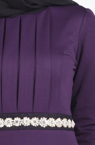 Pul İşlemeli Örme Elbise 2735-03 Mor 2735-03