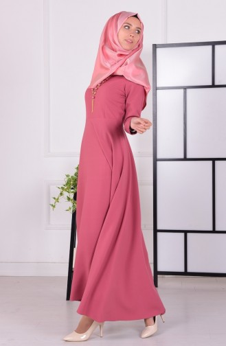 Robe Hijab Rose Pâle 4055-12