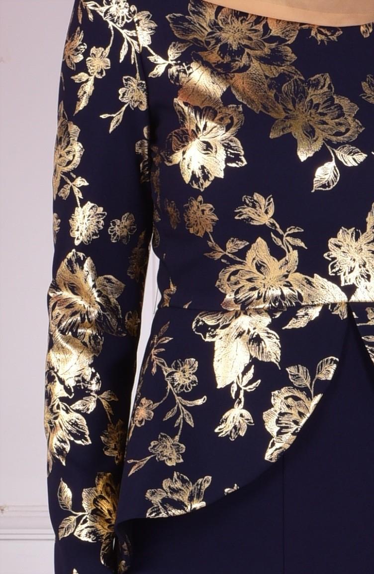 ba30b019aec09 فستان طويل باللون الكحلي 1057-01
