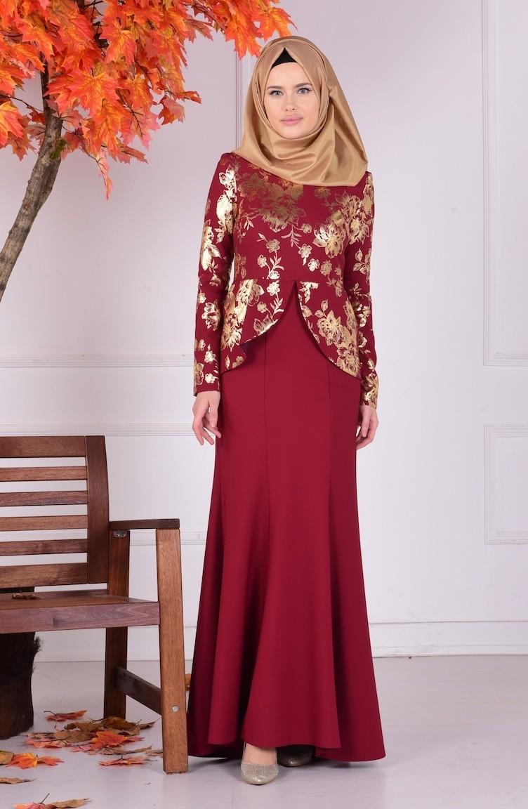 cbb82d723bc3d فستان للمناسبات لون خمري 1057-02