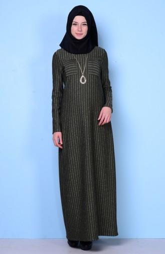 Kolyeli Elbise 4079-03 Haki Yeşil