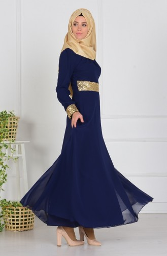 Navy Blue Islamic Clothing Evening Dress 2398-17